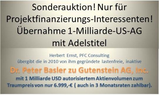Sonderauktionspreis für Übernahme der ´Dr.Peter Basler zu Gutenstein AG, Inc.`